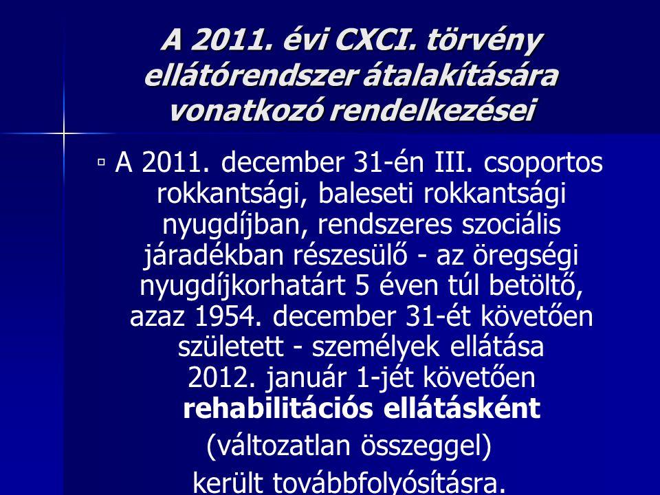 A 2011. évi CXCI. törvény ellátórendszer átalakítására vonatkozó rendelkezései