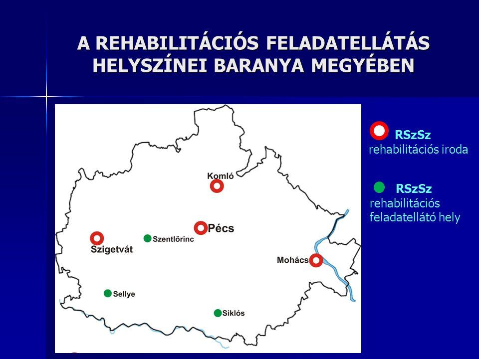 A REHABILITÁCIÓS FELADATELLÁTÁS HELYSZÍNEI BARANYA MEGYÉBEN