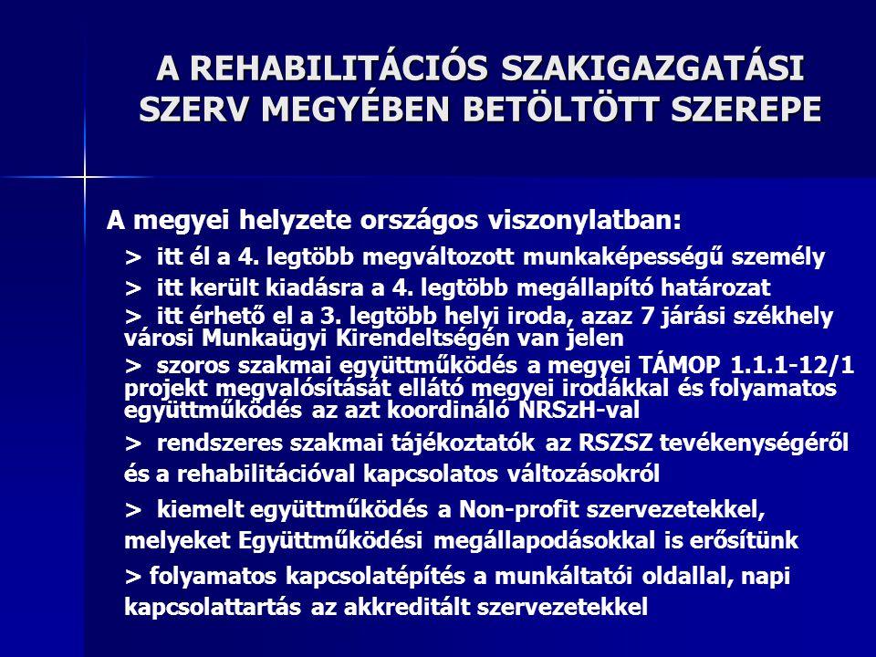 A REHABILITÁCIÓS SZAKIGAZGATÁSI SZERV MEGYÉBEN BETÖLTÖTT SZEREPE