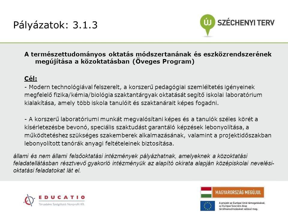 Pályázatok: 3.1.3 A természettudományos oktatás módszertanának és eszközrendszerének megújítása a közoktatásban (Öveges Program)