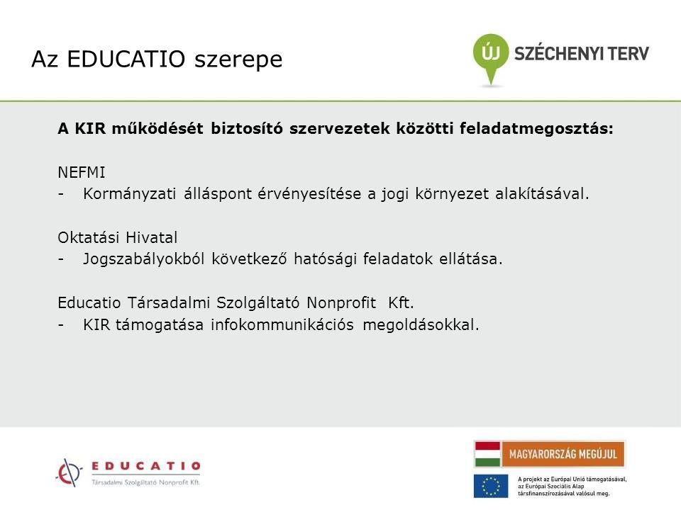 Az EDUCATIO szerepe A KIR működését biztosító szervezetek közötti feladatmegosztás: NEFMI.