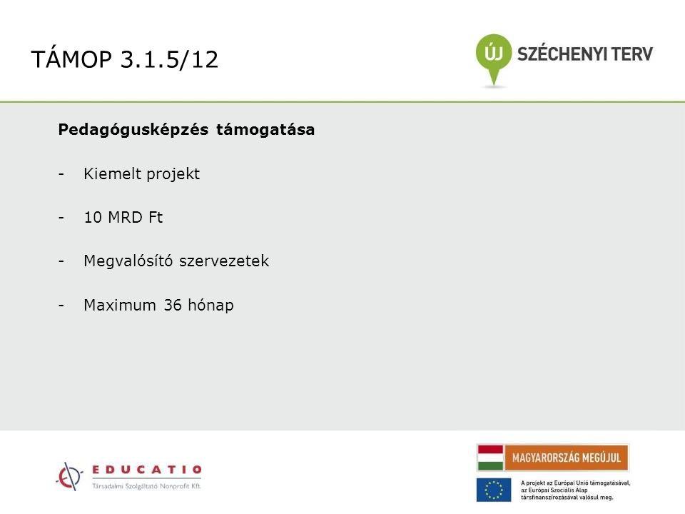 TÁMOP 3.1.5/12 Pedagógusképzés támogatása Kiemelt projekt 10 MRD Ft