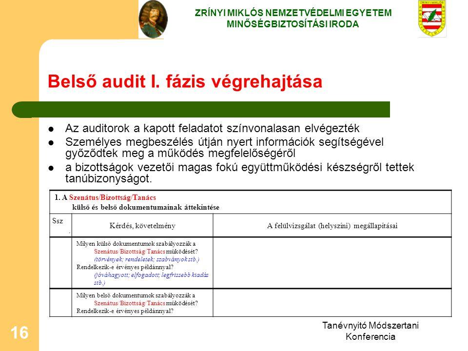 Belső audit I. fázis végrehajtása