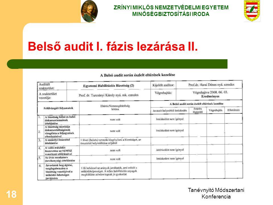 Belső audit I. fázis lezárása II.