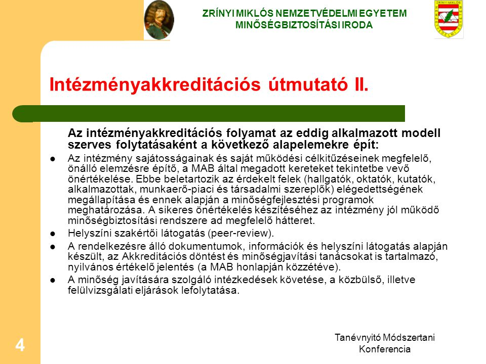 Intézményakkreditációs útmutató II.