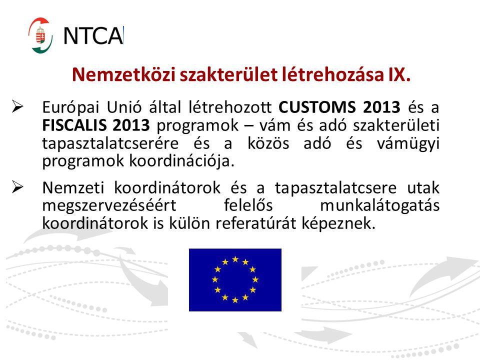 Nemzetközi szakterület létrehozása IX.