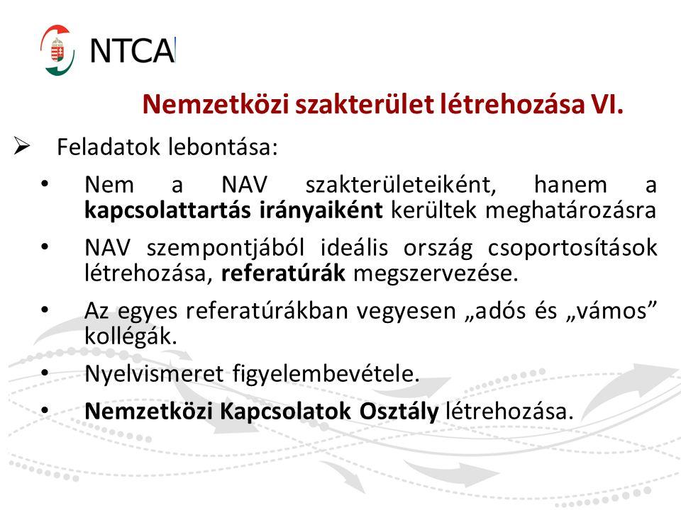 Nemzetközi szakterület létrehozása VI.