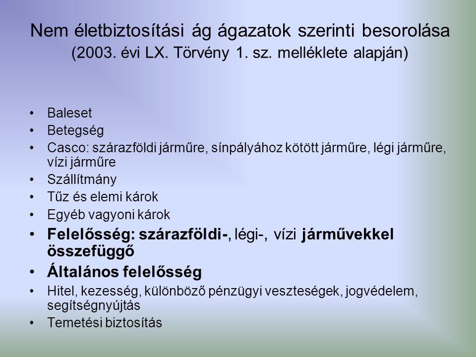 Nem életbiztosítási ág ágazatok szerinti besorolása (2003. évi LX