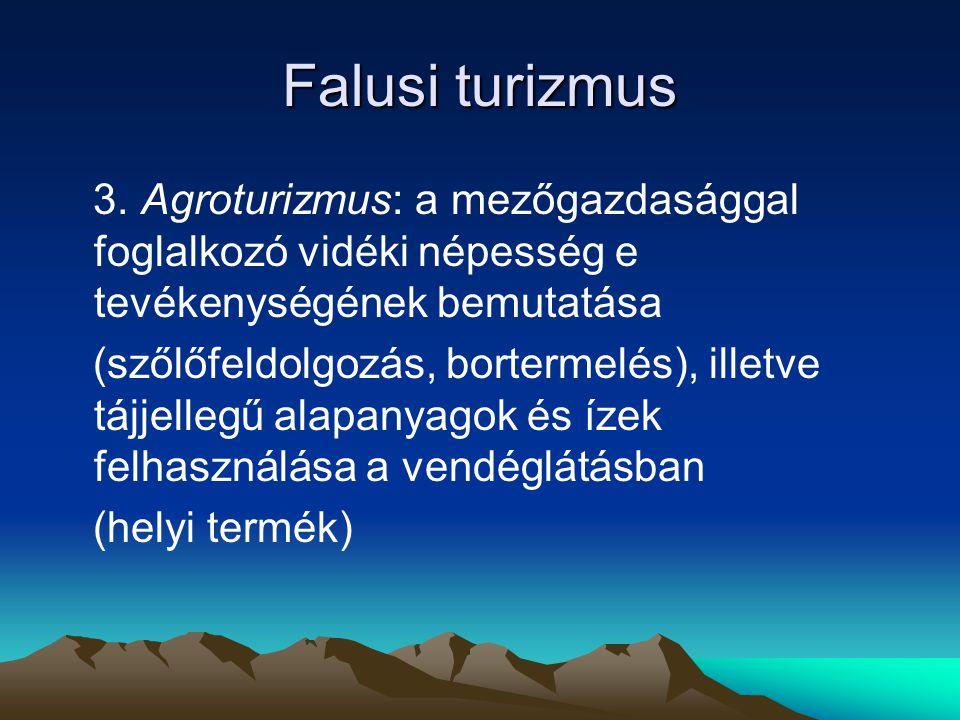 Falusi turizmus 3. Agroturizmus: a mezőgazdasággal foglalkozó vidéki népesség e tevékenységének bemutatása.