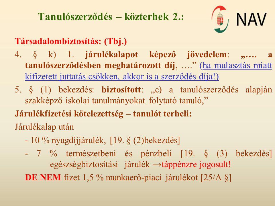 Tanulószerződés – közterhek 2.: