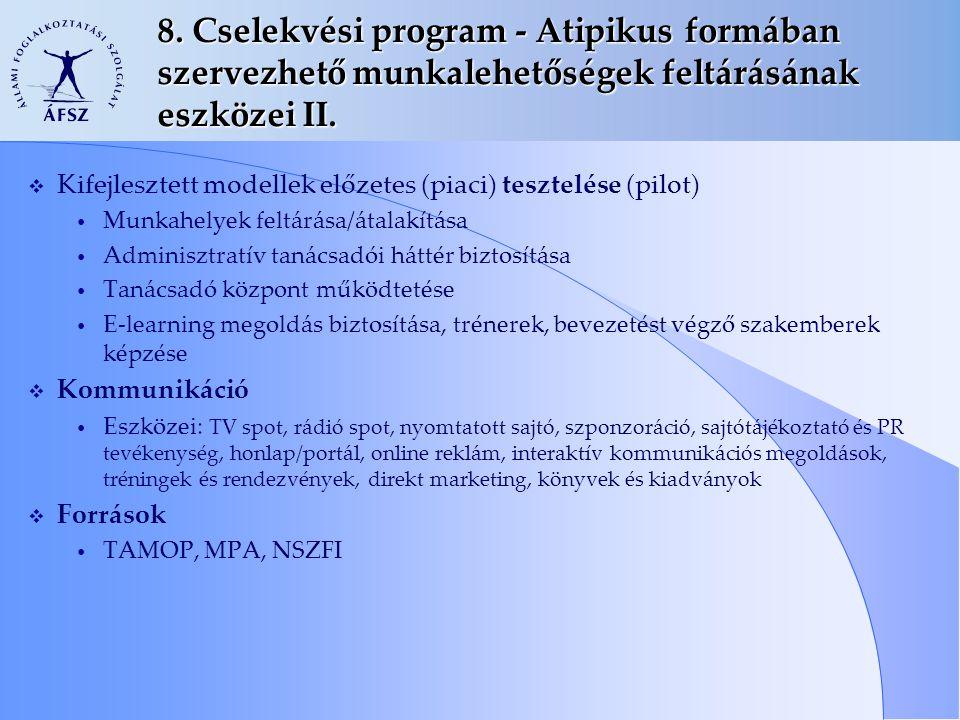8. Cselekvési program - Atipikus formában szervezhető munkalehetőségek feltárásának eszközei II.