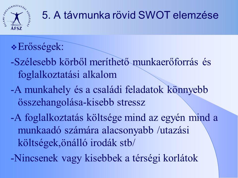 5. A távmunka rövid SWOT elemzése