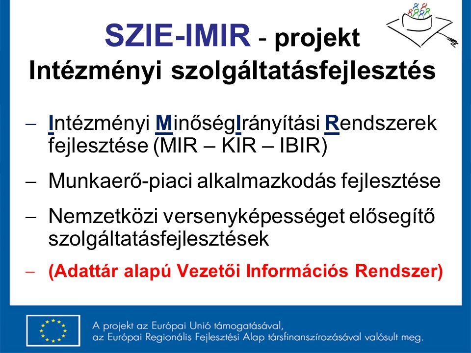 SZIE-IMIR - projekt Intézményi szolgáltatásfejlesztés