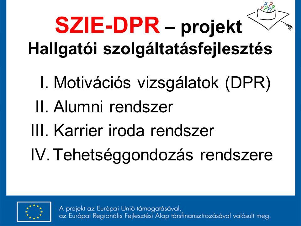 SZIE-DPR – projekt Hallgatói szolgáltatásfejlesztés