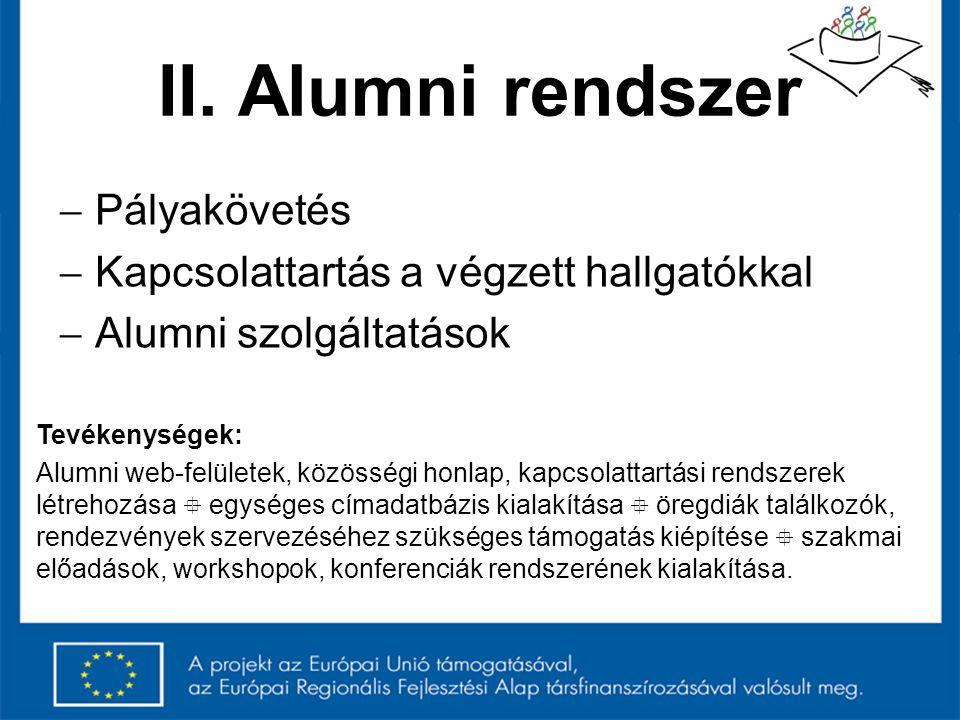II. Alumni rendszer Pályakövetés