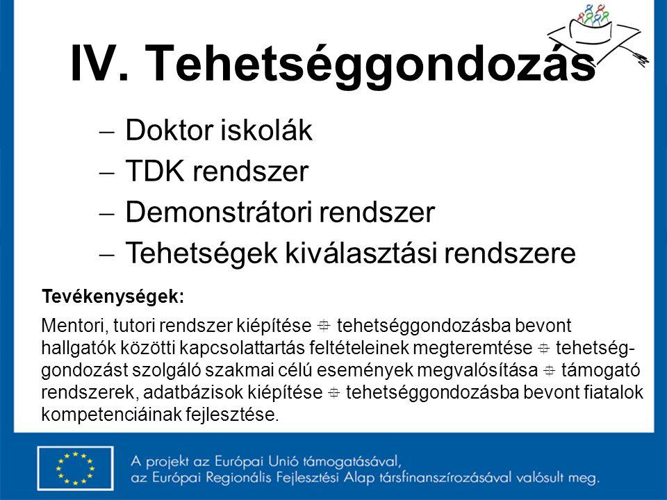 IV. Tehetséggondozás Doktor iskolák TDK rendszer