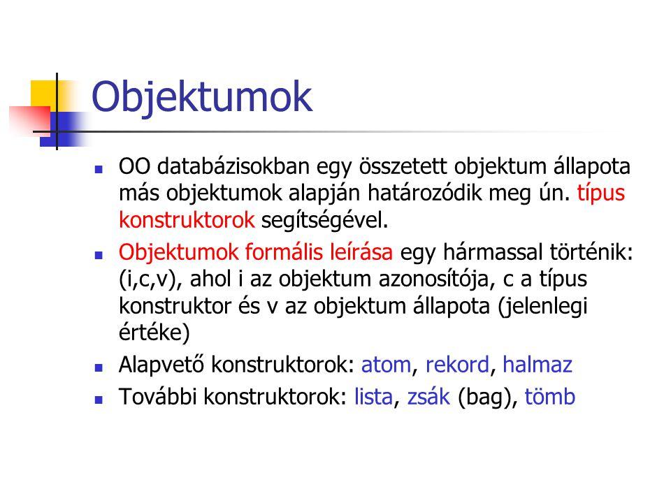 Objektumok OO databázisokban egy összetett objektum állapota más objektumok alapján határozódik meg ún. típus konstruktorok segítségével.