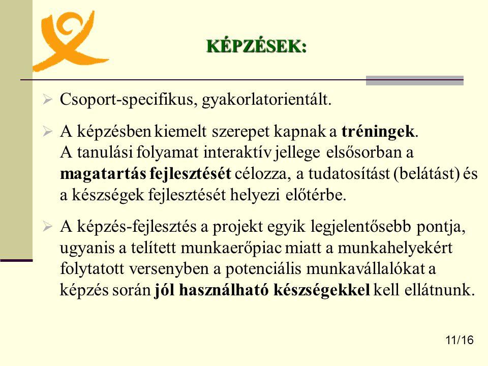 Csoport-specifikus, gyakorlatorientált.