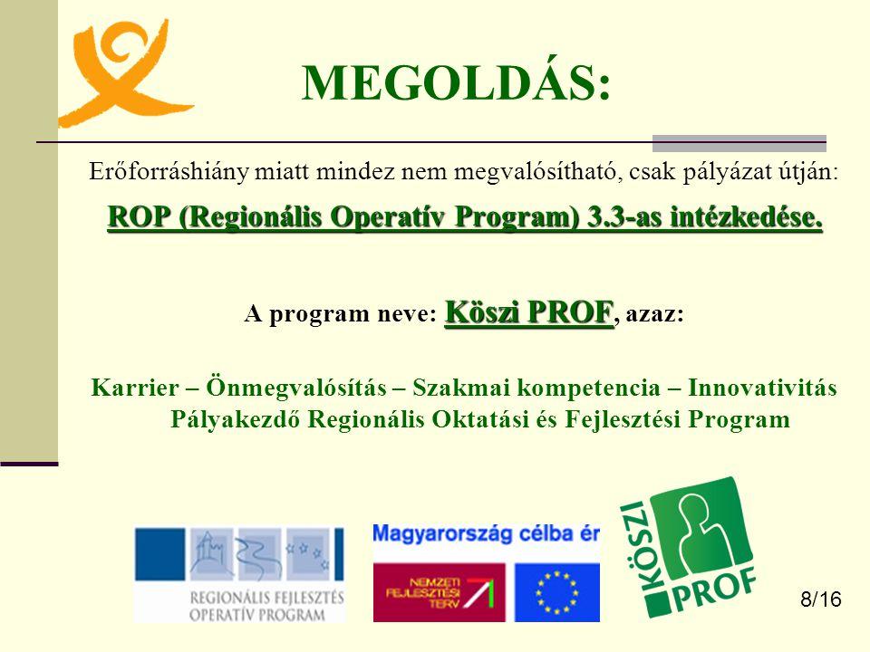 MEGOLDÁS: ROP (Regionális Operatív Program) 3.3-as intézkedése.