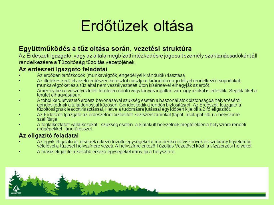Erdőtüzek oltása Együttműködés a tűz oltása során, vezetési struktúra