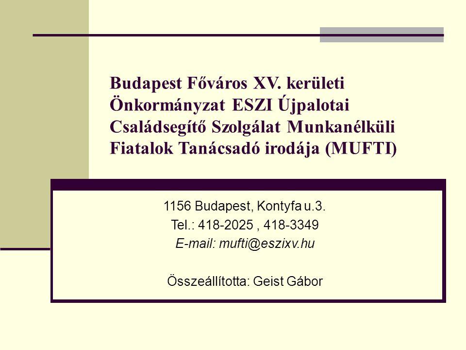 Budapest Főváros XV. kerületi Önkormányzat ESZI Újpalotai Családsegítő Szolgálat Munkanélküli Fiatalok Tanácsadó irodája (MUFTI)