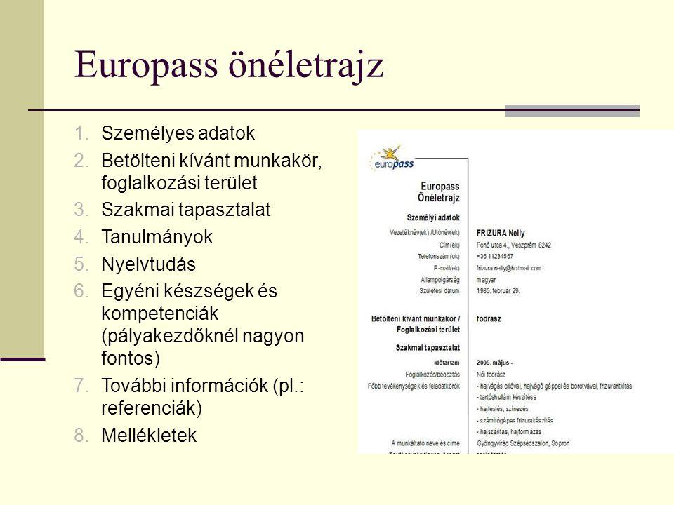 Europass önéletrajz Személyes adatok