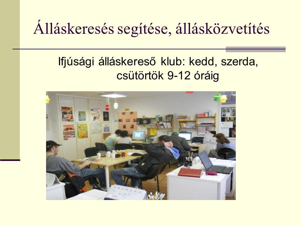 Ifjúsági álláskereső klub: kedd, szerda, csütörtök 9-12 óráig