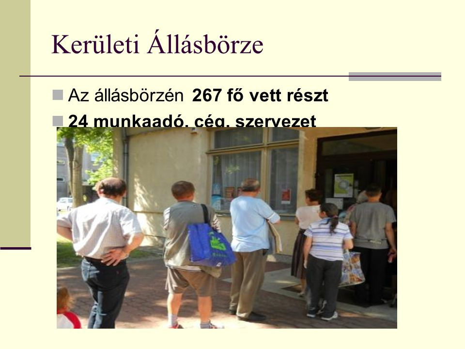 Kerületi Állásbörze Az állásbörzén 267 fő vett részt