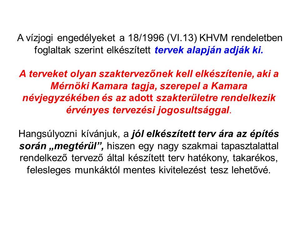 A vízjogi engedélyeket a 18/1996 (VI