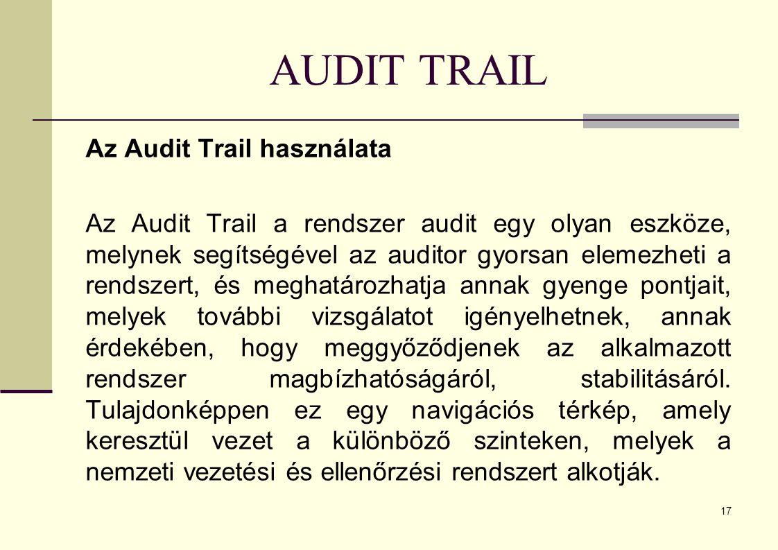 AUDIT TRAIL Az Audit Trail használata