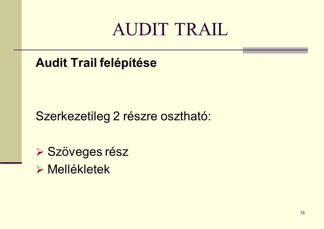 AUDIT TRAIL Audit Trail felépítése Szerkezetileg 2 részre osztható: