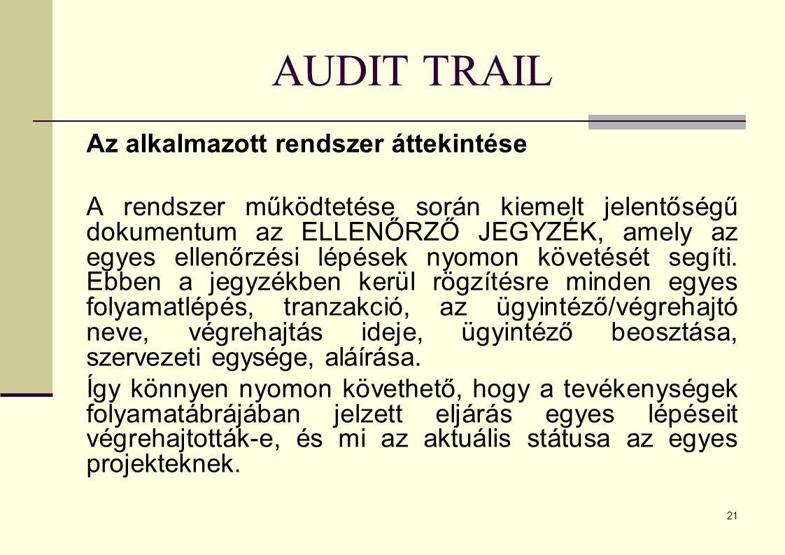 AUDIT TRAIL Az alkalmazott rendszer áttekintése