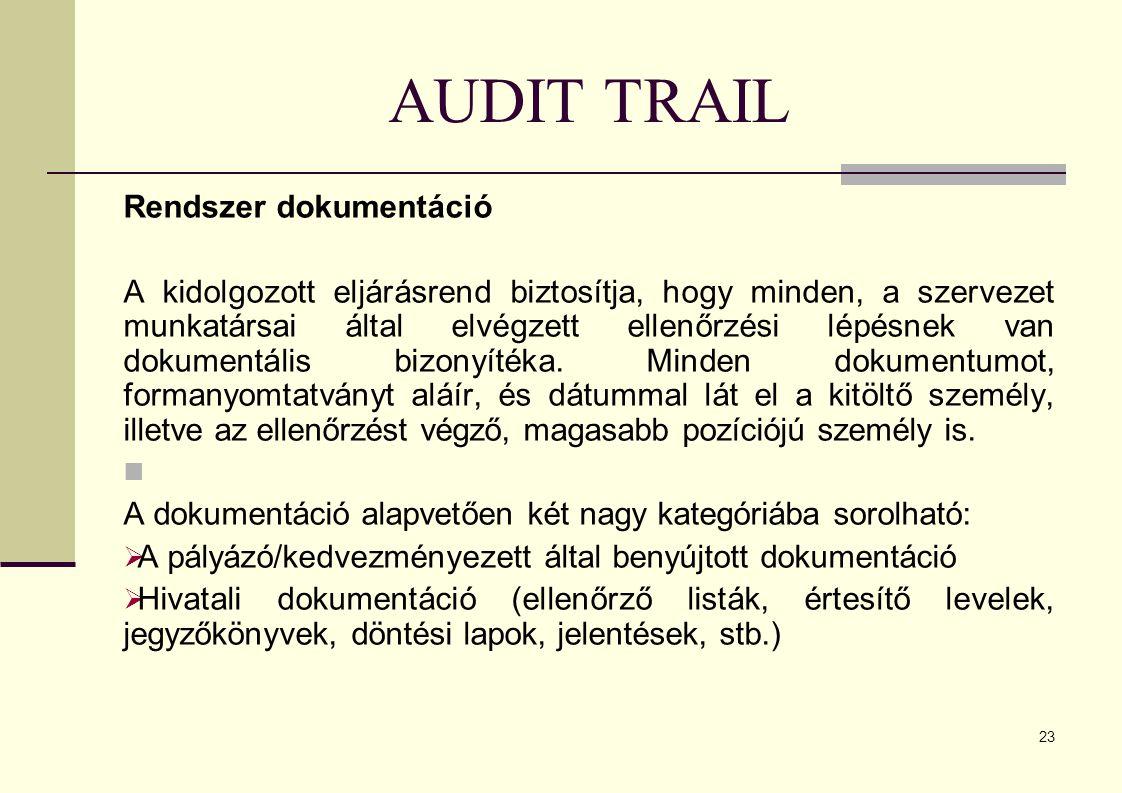 AUDIT TRAIL Rendszer dokumentáció