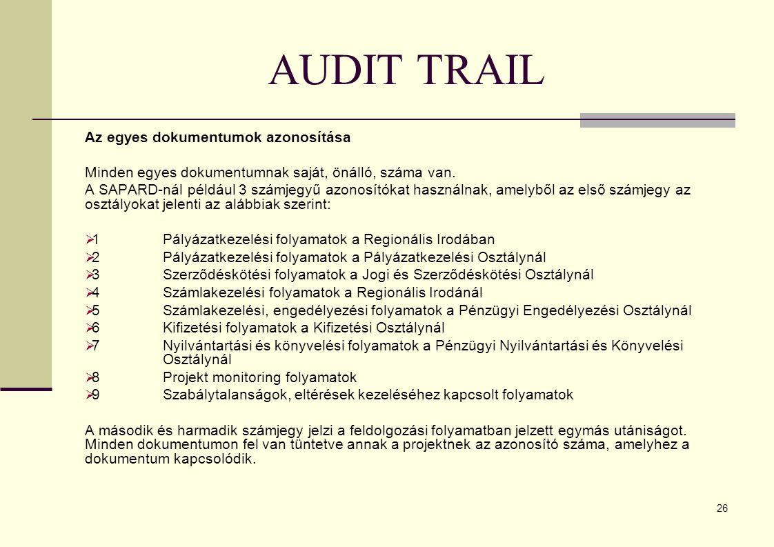 AUDIT TRAIL Az egyes dokumentumok azonosítása