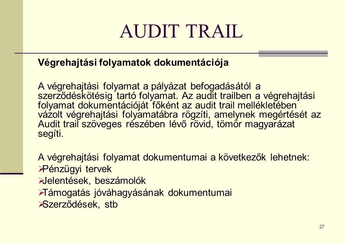 AUDIT TRAIL Végrehajtási folyamatok dokumentációja