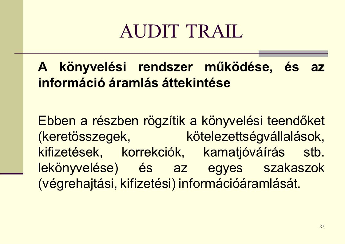 AUDIT TRAIL A könyvelési rendszer működése, és az információ áramlás áttekintése.