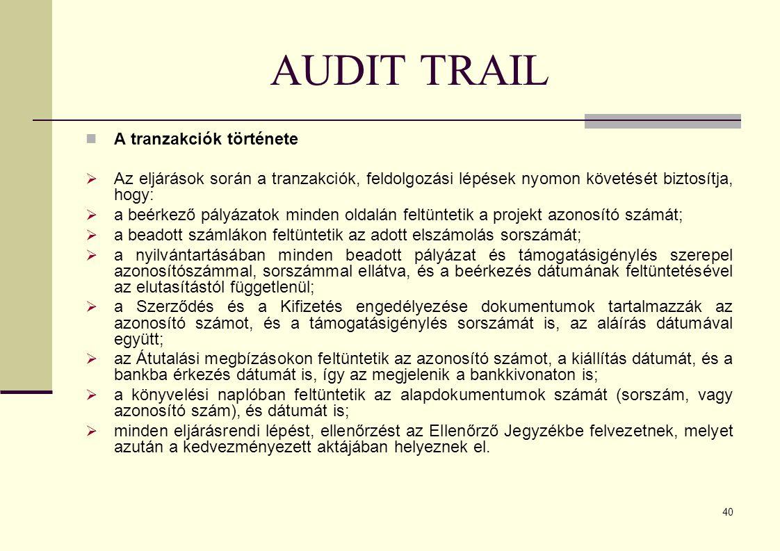 AUDIT TRAIL A tranzakciók története
