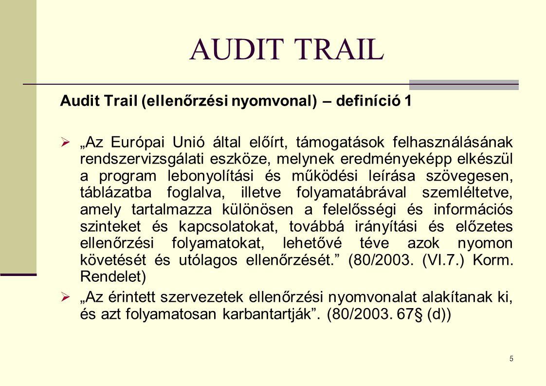 AUDIT TRAIL Audit Trail (ellenőrzési nyomvonal) – definíció 1