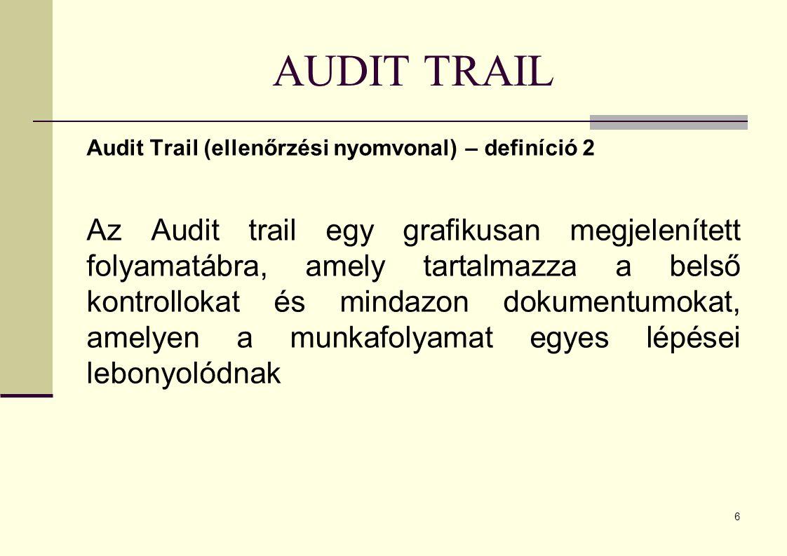 AUDIT TRAIL Audit Trail (ellenőrzési nyomvonal) – definíció 2.