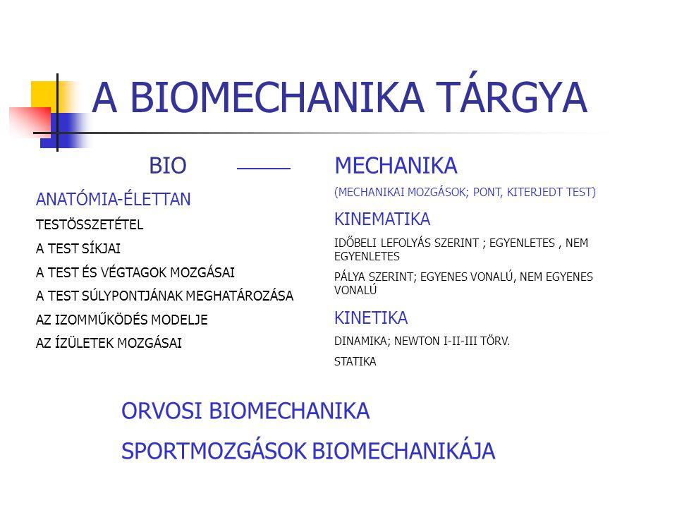 A BIOMECHANIKA TÁRGYA BIO MECHANIKA ORVOSI BIOMECHANIKA