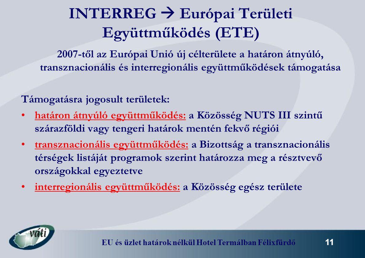 INTERREG  Európai Területi Együttműködés (ETE)