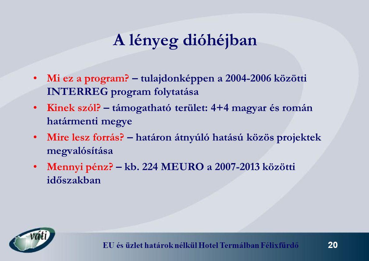 A lényeg dióhéjban Mi ez a program – tulajdonképpen a 2004-2006 közötti INTERREG program folytatása.