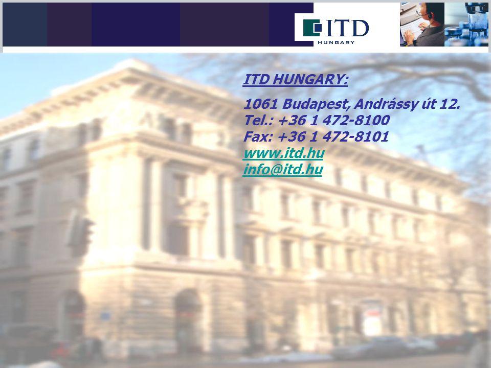 ITD HUNGARY: 1061 Budapest, Andrássy út 12. Tel.: +36 1 472-8100. Fax: +36 1 472-8101. www.itd.hu.