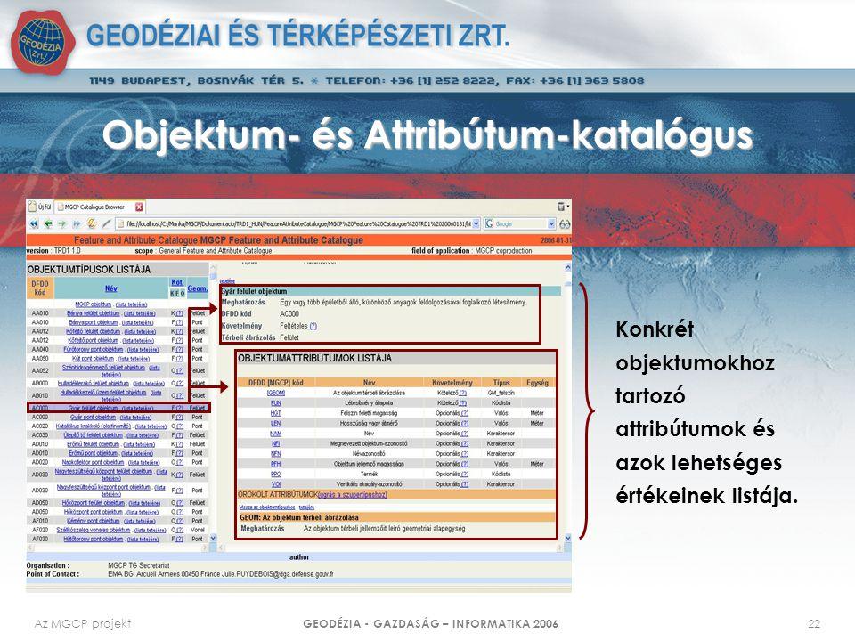 Objektum- és Attribútum-katalógus