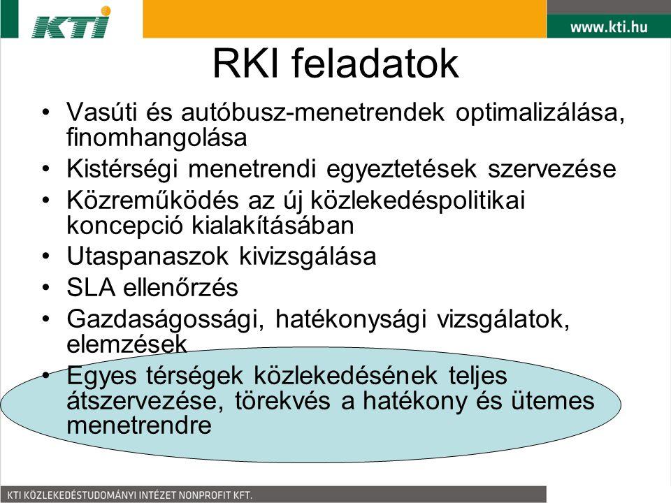 RKI feladatok Vasúti és autóbusz-menetrendek optimalizálása, finomhangolása. Kistérségi menetrendi egyeztetések szervezése.