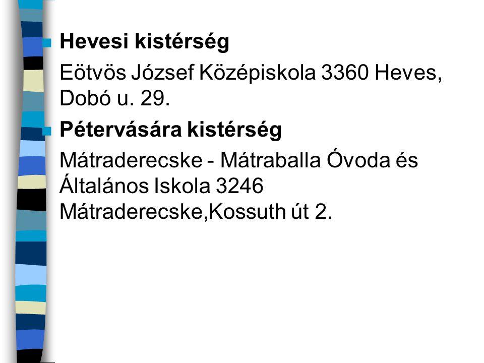 Hevesi kistérség Eötvös József Középiskola 3360 Heves, Dobó u. 29. Pétervására kistérség.