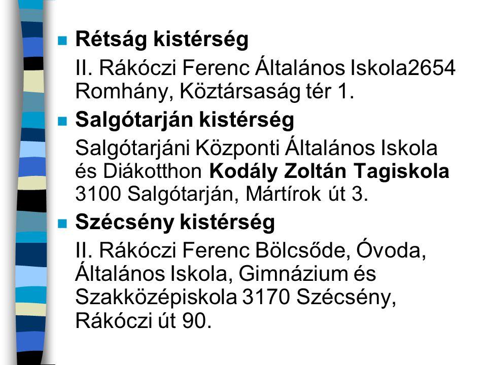 Rétság kistérség II. Rákóczi Ferenc Általános Iskola2654 Romhány, Köztársaság tér 1. Salgótarján kistérség.