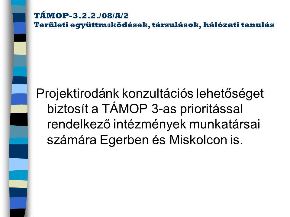 TÁMOP-3.2.2./08/A/2 Területi együttműködések, társulások, hálózati tanulás