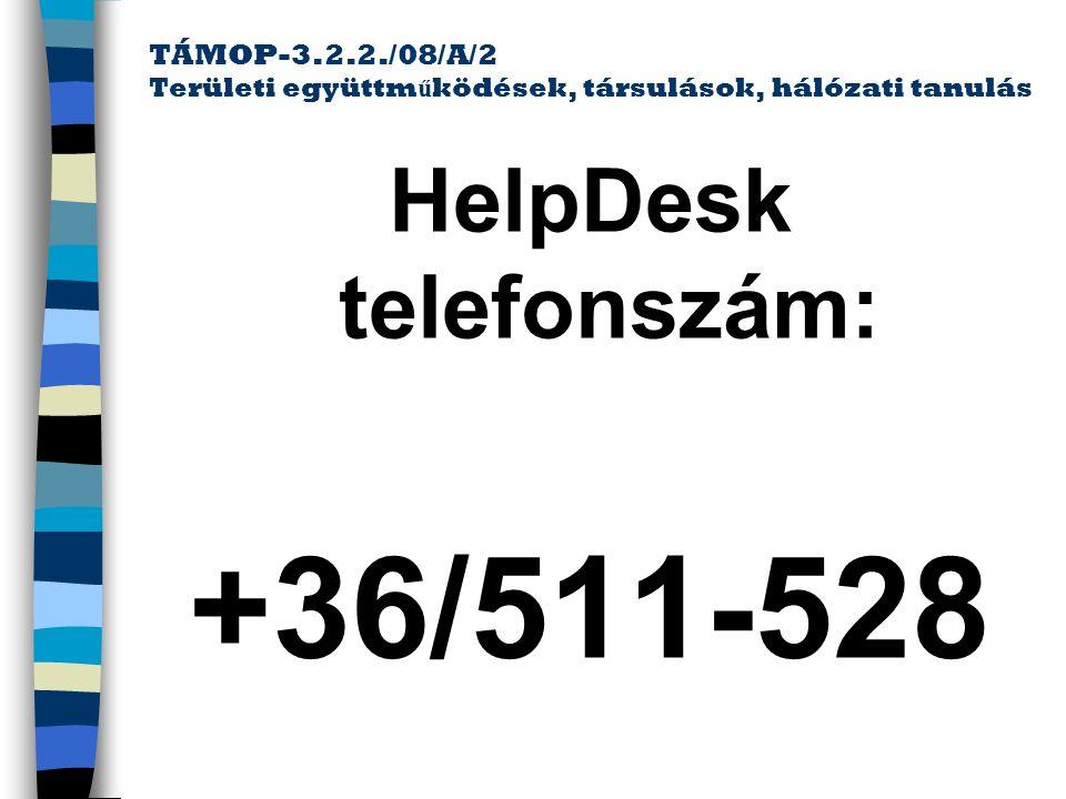 HelpDesk telefonszám: