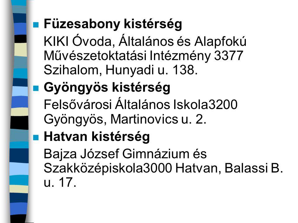 Füzesabony kistérség KIKI Óvoda, Általános és Alapfokú Művészetoktatási Intézmény 3377 Szihalom, Hunyadi u. 138.